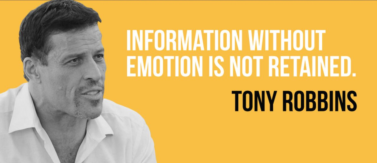 afe0699b8848 What do you want your audience to do next? Tony Robbins tells a great story  at the end of this presentation, moving his audience emotionally towards  change.